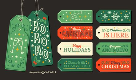 Christmas holiday hang tags gift set