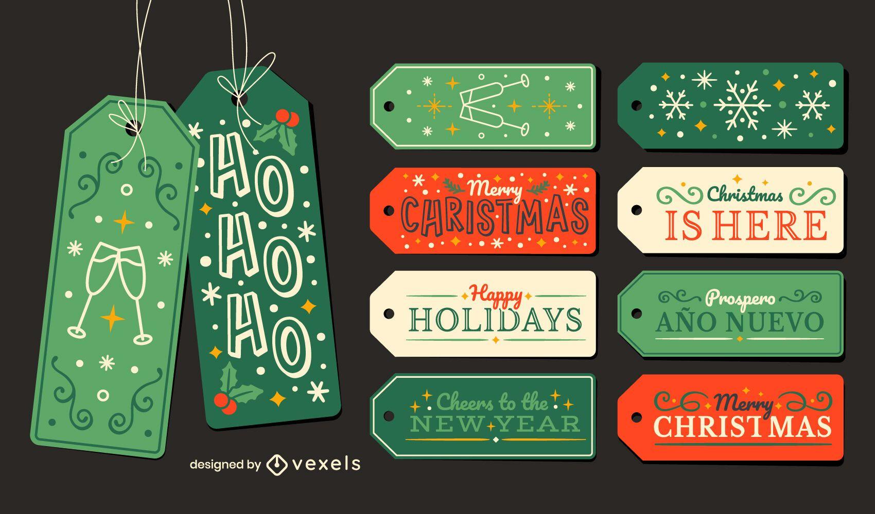 Set de regalo de etiquetas colgantes navideñas