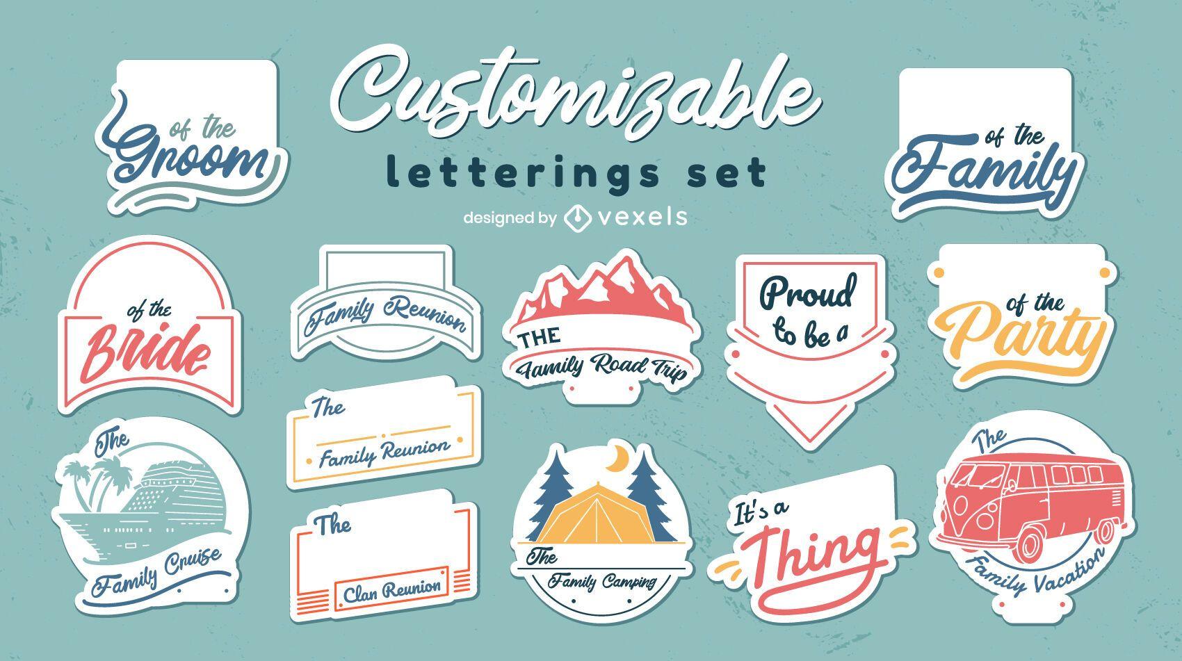 Conjunto personalizável de selo de adesivo de família