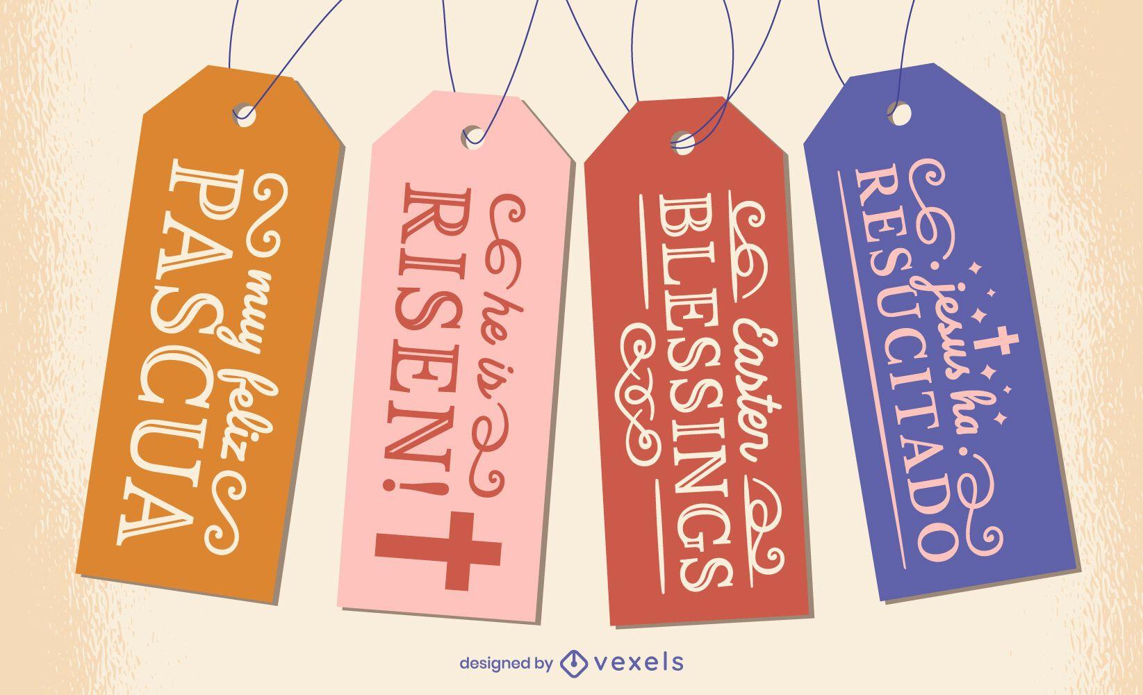 Conjunto de etiquetas colgantes de cristianismo religioso