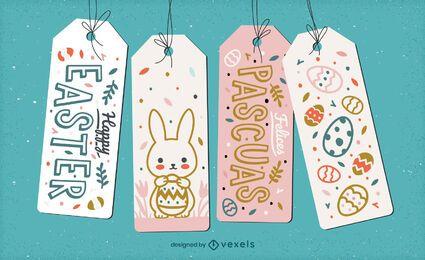 Lindo set de regalo de etiqueta colgante de vacaciones de pascua