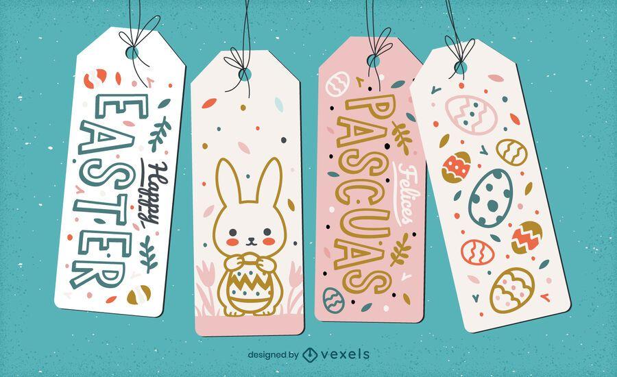 Cute easter holiday hang tag gift set