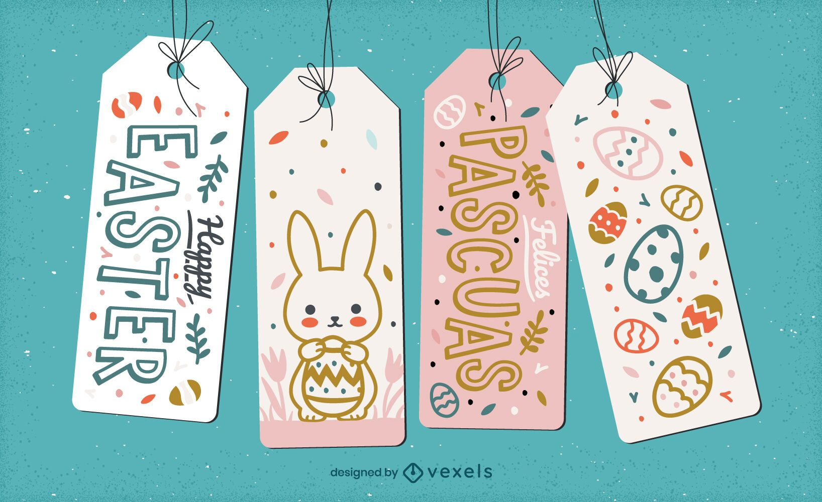 Lindo conjunto de etiqueta para pendurar feriado de páscoa