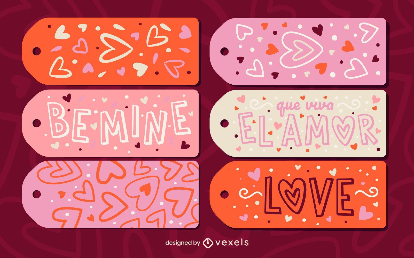 Set de regalo de etiqueta colgante de vacaciones de San Valentín
