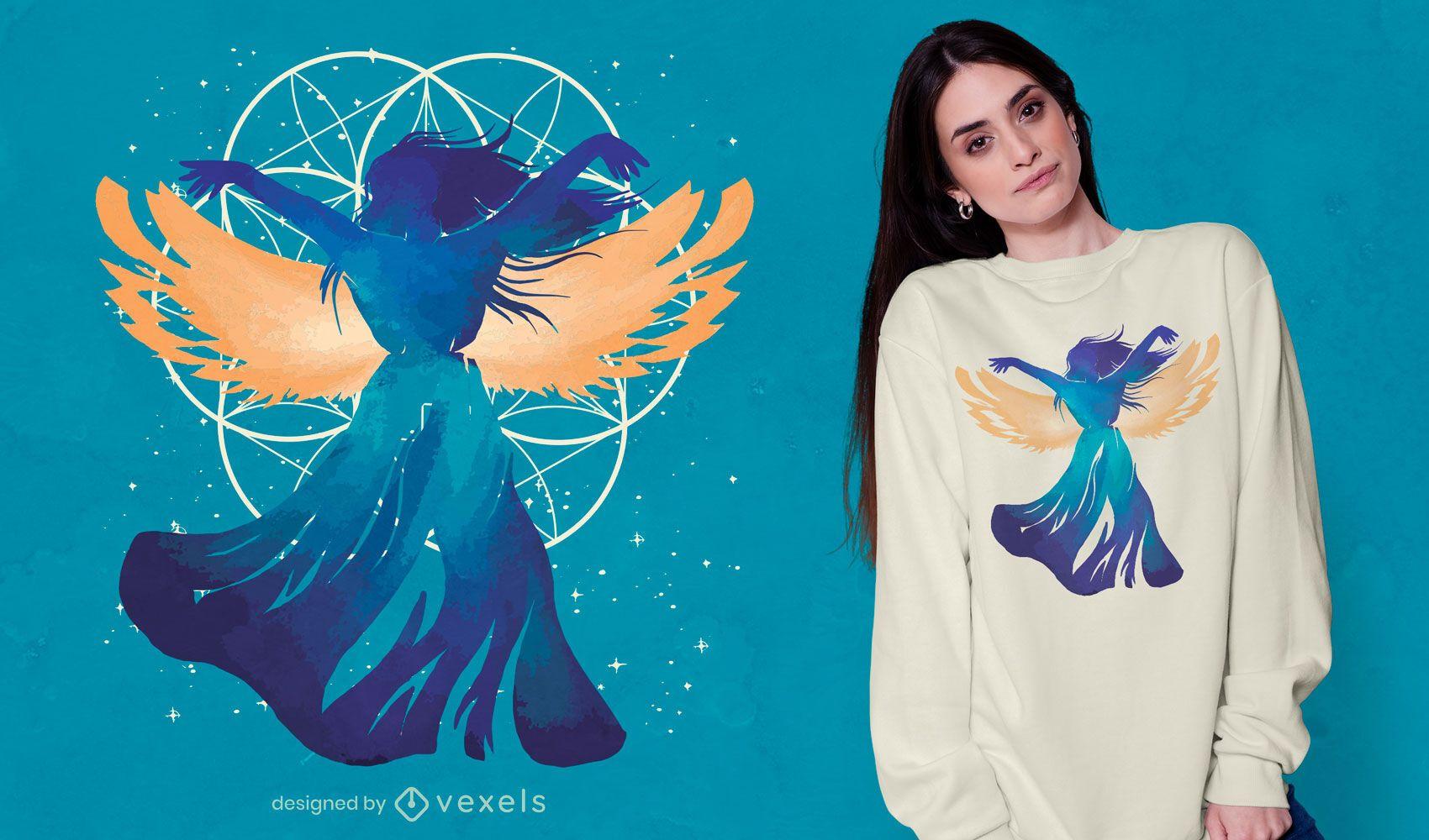 Diseño de camiseta de fantasía de mujer ángel.