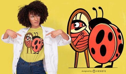 Ladybug cartoon looking at mirror t-shrit design