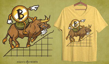 Bitcoin-Karikatur, der Stier-T-Shirt Design reitet
