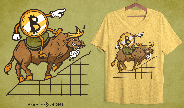 Bitcoin cartoon riding bull t-shirt design