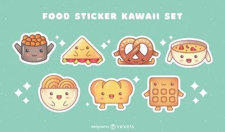 Conjunto de pacote de adesivos de pratos de comida kawaii