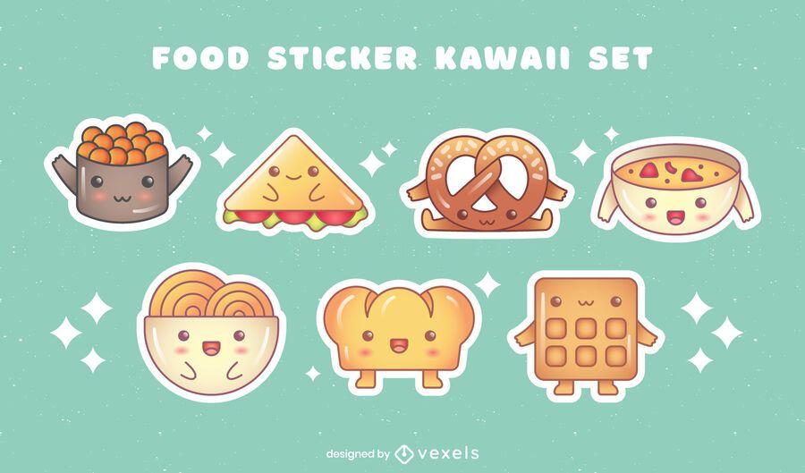 Set de pegatinas de platos de comida kawaii pack