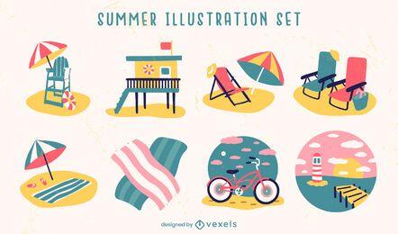 Conjunto de elementos de ilustração de praia na temporada de verão
