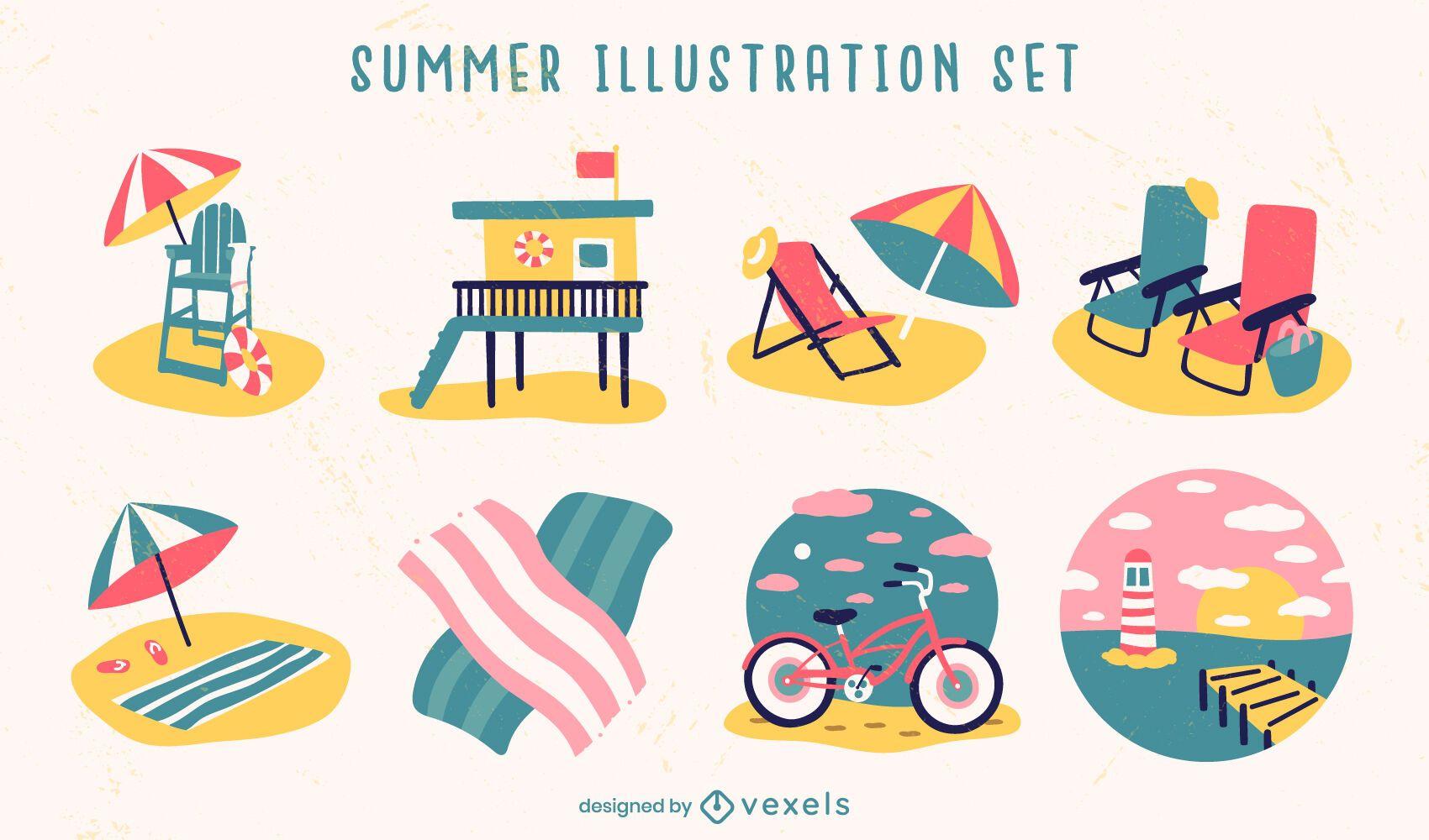 Summer season beach illustration elements set