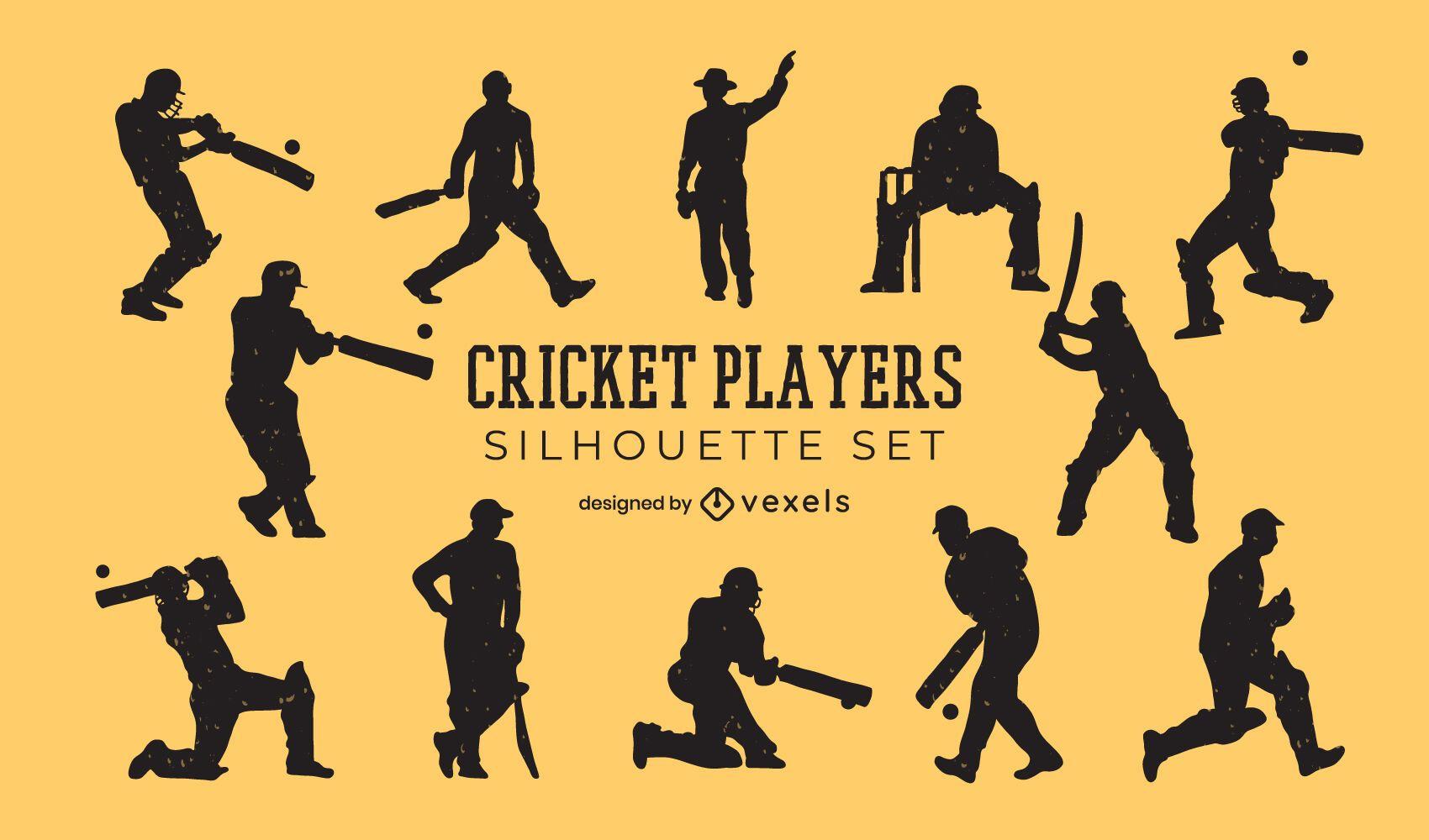 Conjunto de silueta de gente de jugadores de cricket
