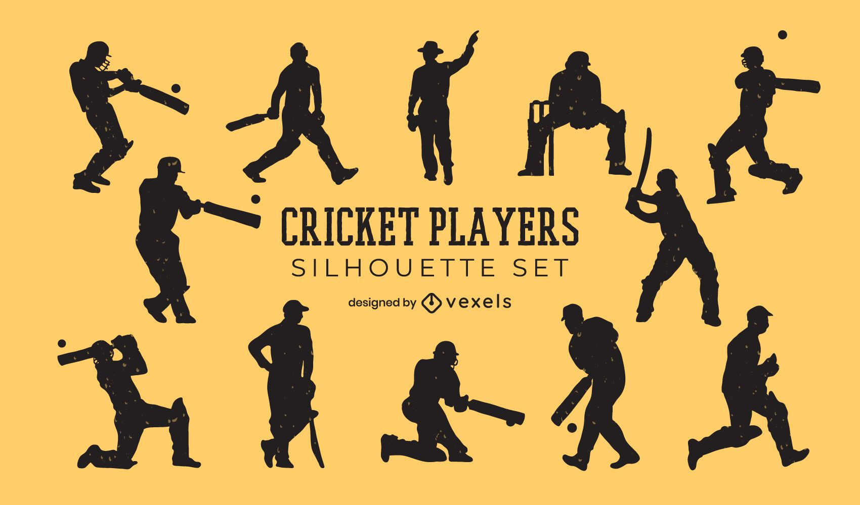 Cricket players people silhouette set