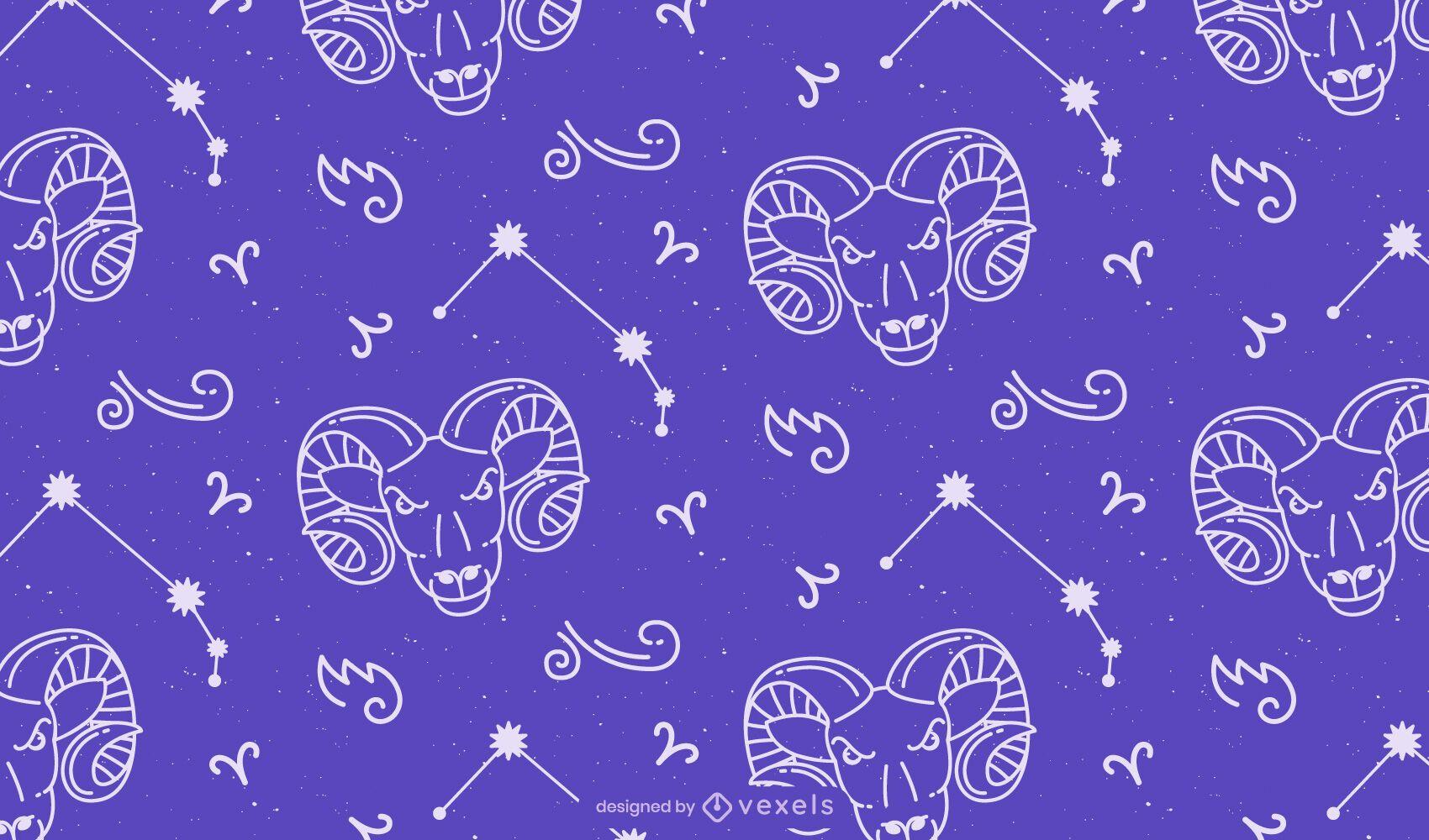 Aries sign horoscope pattern design