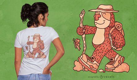 Sloth cartoon trekking t-shirt design