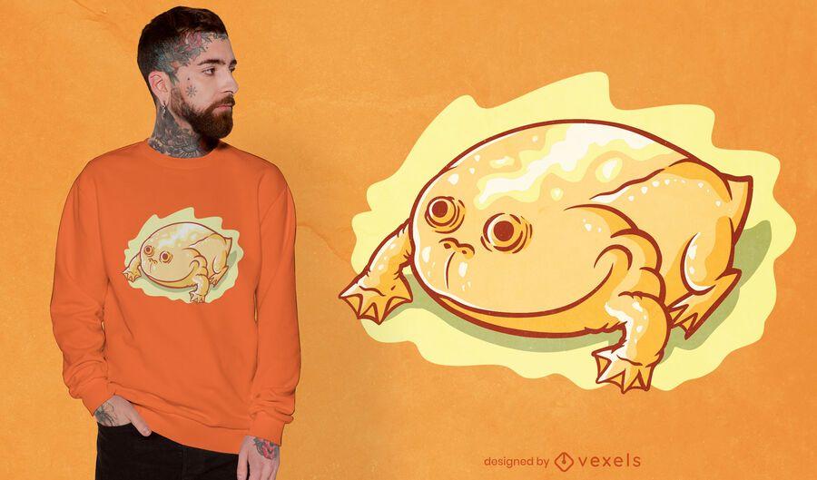 Diseño de camiseta de rana amarilla brillante.