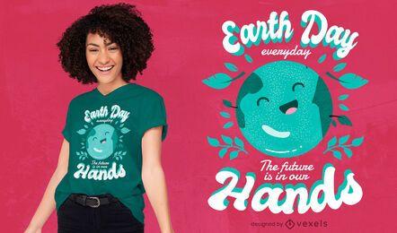 Design de camiseta com citações do feriado do Dia da Terra