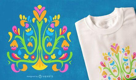 Design de camisetas coloridas da natureza Otomi
