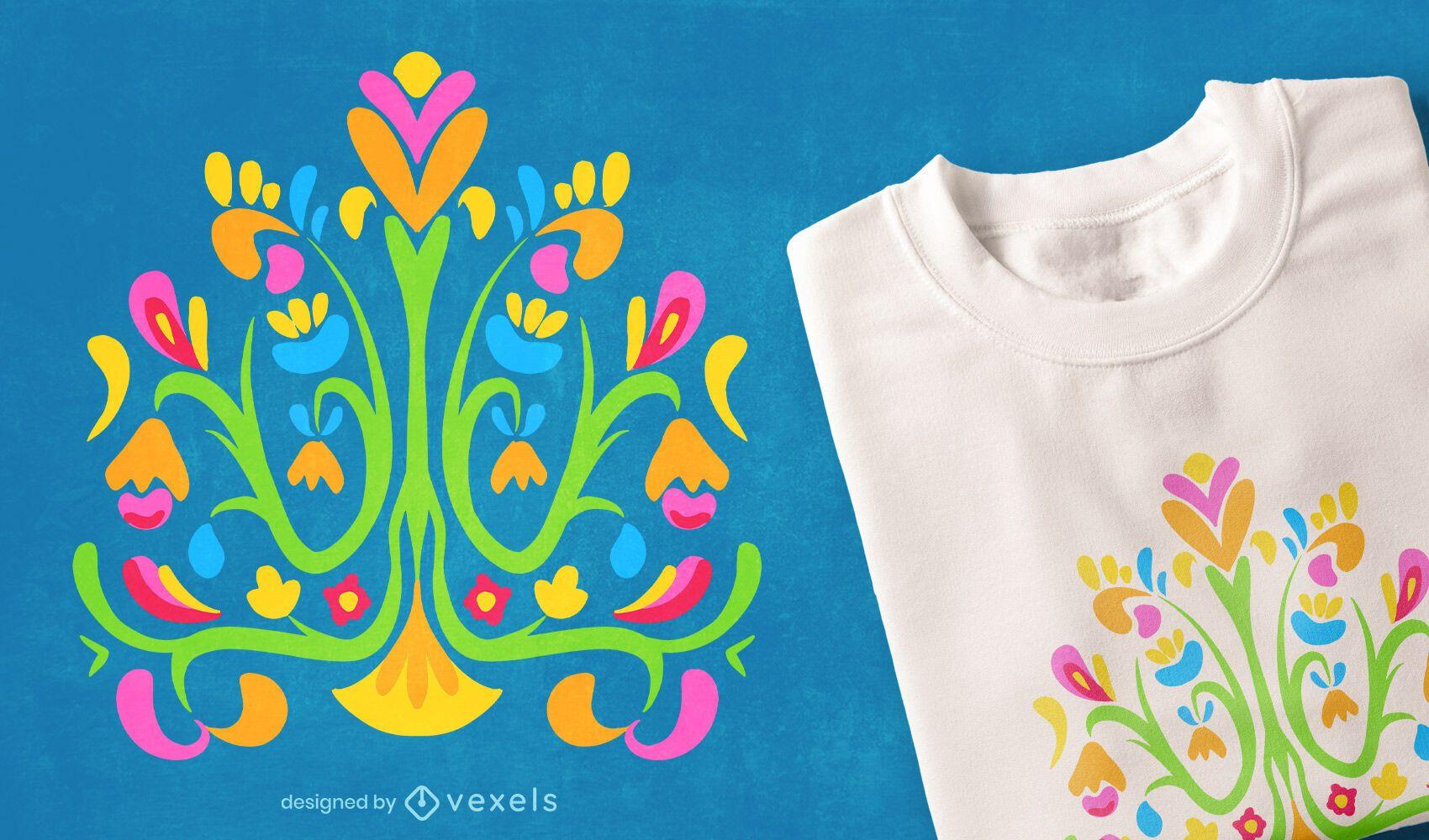 Diseño de camiseta de naturaleza colorida otomí