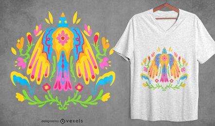 Diseño de camiseta de pájaro mexicano colorido otomí