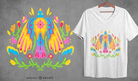 Otomi colorful mexican bird t-shirt design