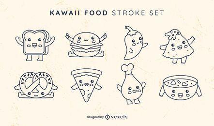 Conjunto de kawaii de arte de línea de comida