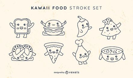 Food line art kawaii set