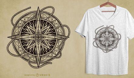 Diseño de camiseta de brújula dibujada a mano
