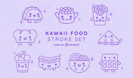 Fast food meals line art kawaii set