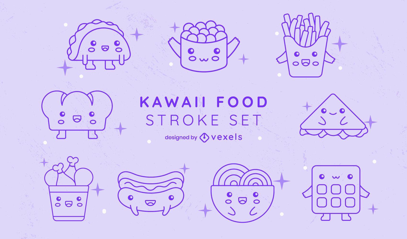 Fast food meals line art kawaii set
