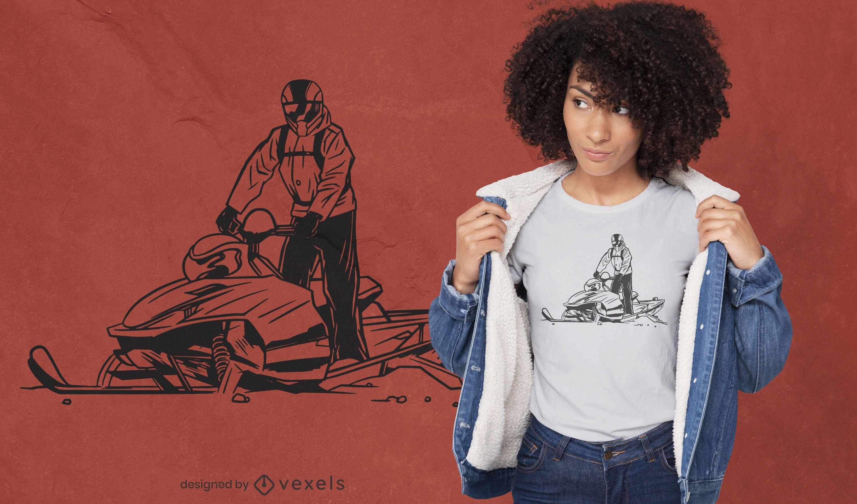 Man riding snowmobile t-shirt design
