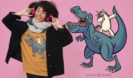 Unicorn dabbing t-rex t-shirt design