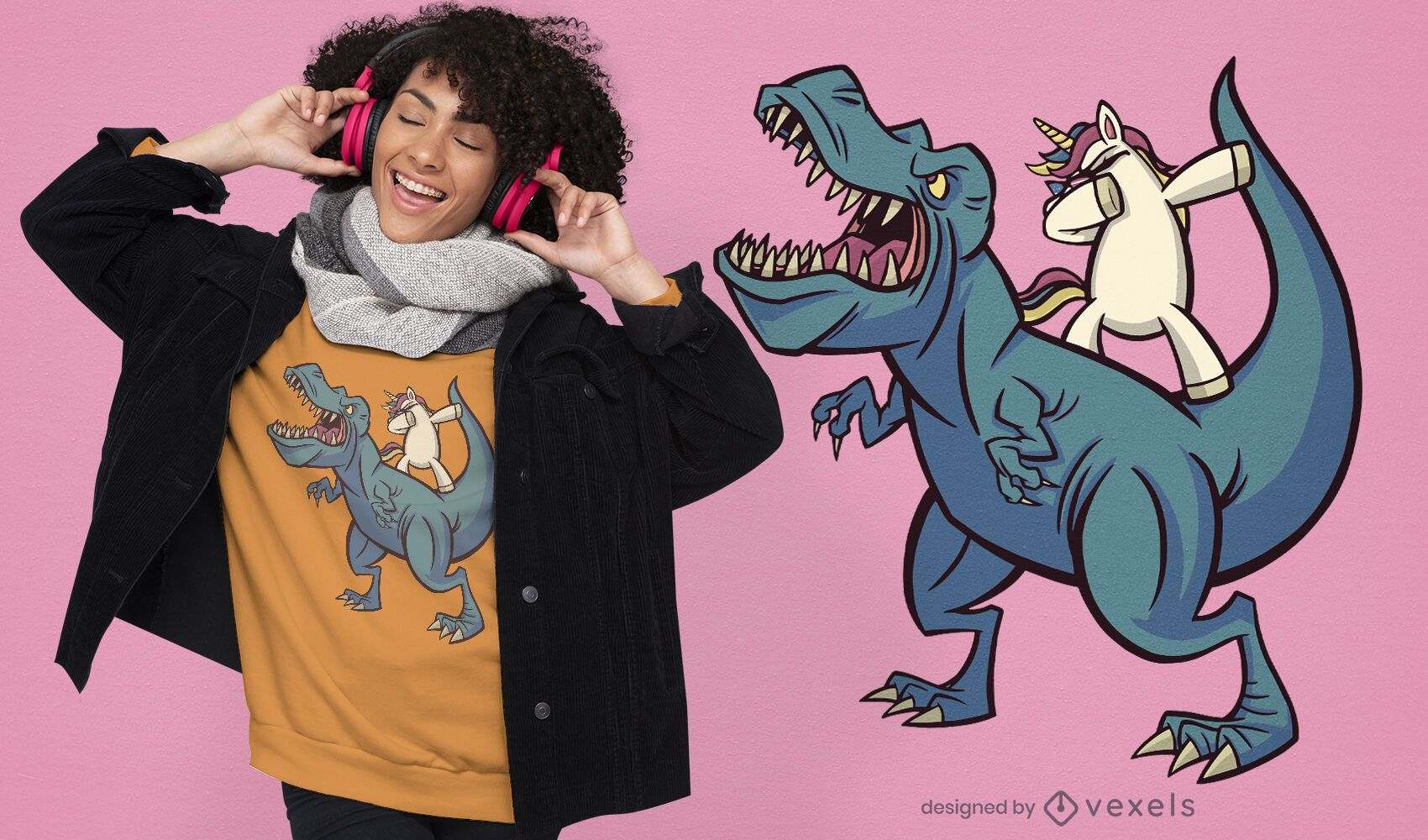 Design de t-shirt t-rex unicórnio dabbing