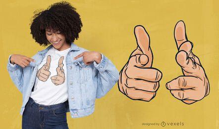 Diseño de camiseta de pistolas de dedos