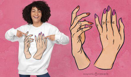 Diseño de camiseta de manos de esmalte de uñas.