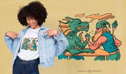 Desenho de camiseta de dragão e feiticeiro