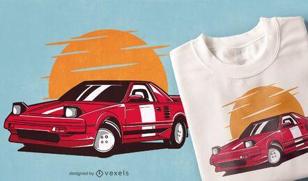 Diseño de camiseta de coche deportivo rojo.