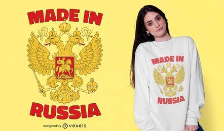 Diseño de camiseta con escudo de armas ruso.