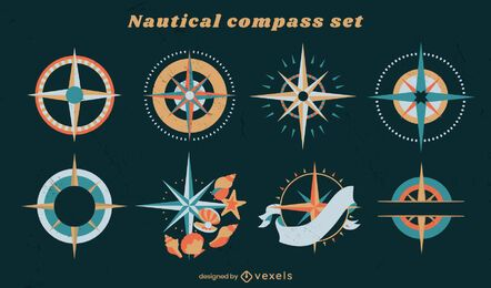 Nautical compass ocean guide element set