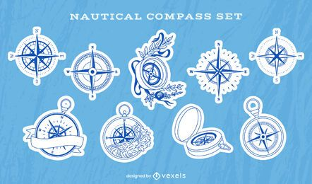 Nautical compass ocean guide sticker set