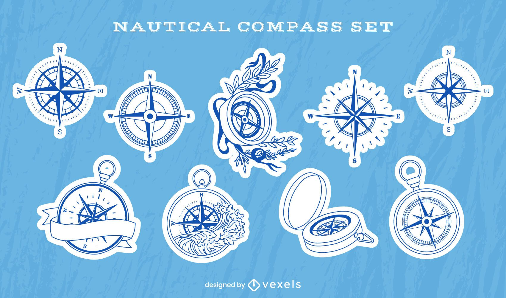 Conjunto de adesivos de guia marítimo de bússola náutica