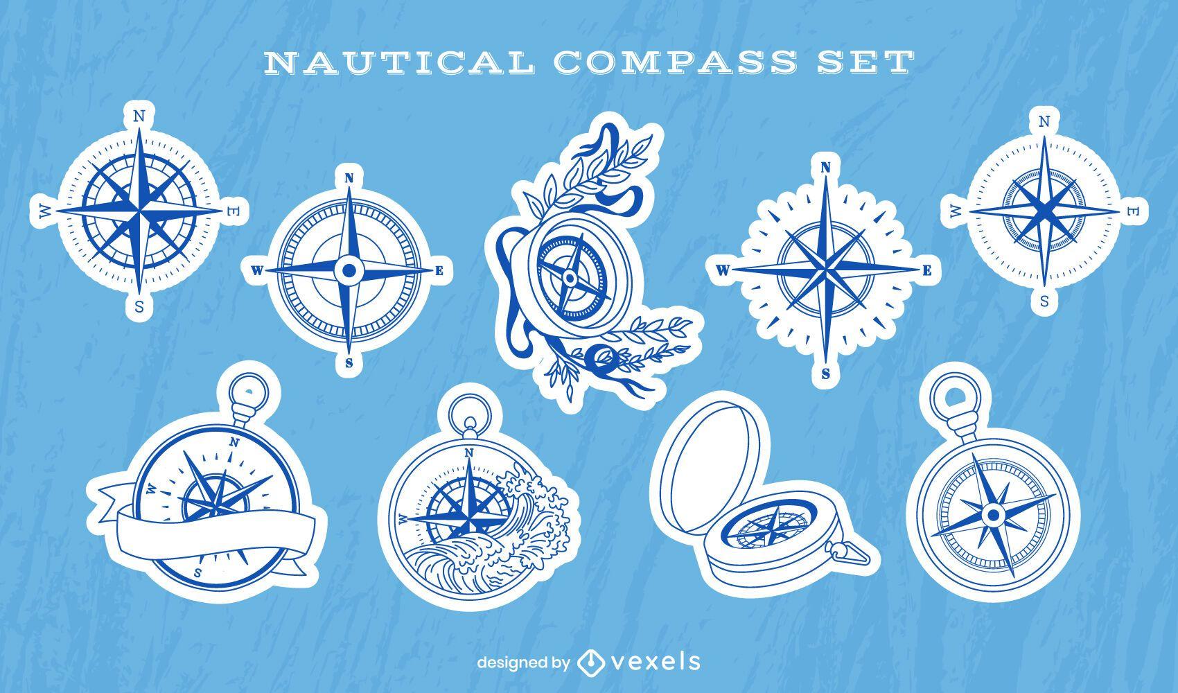 Nautical compass ocean guide sticker set