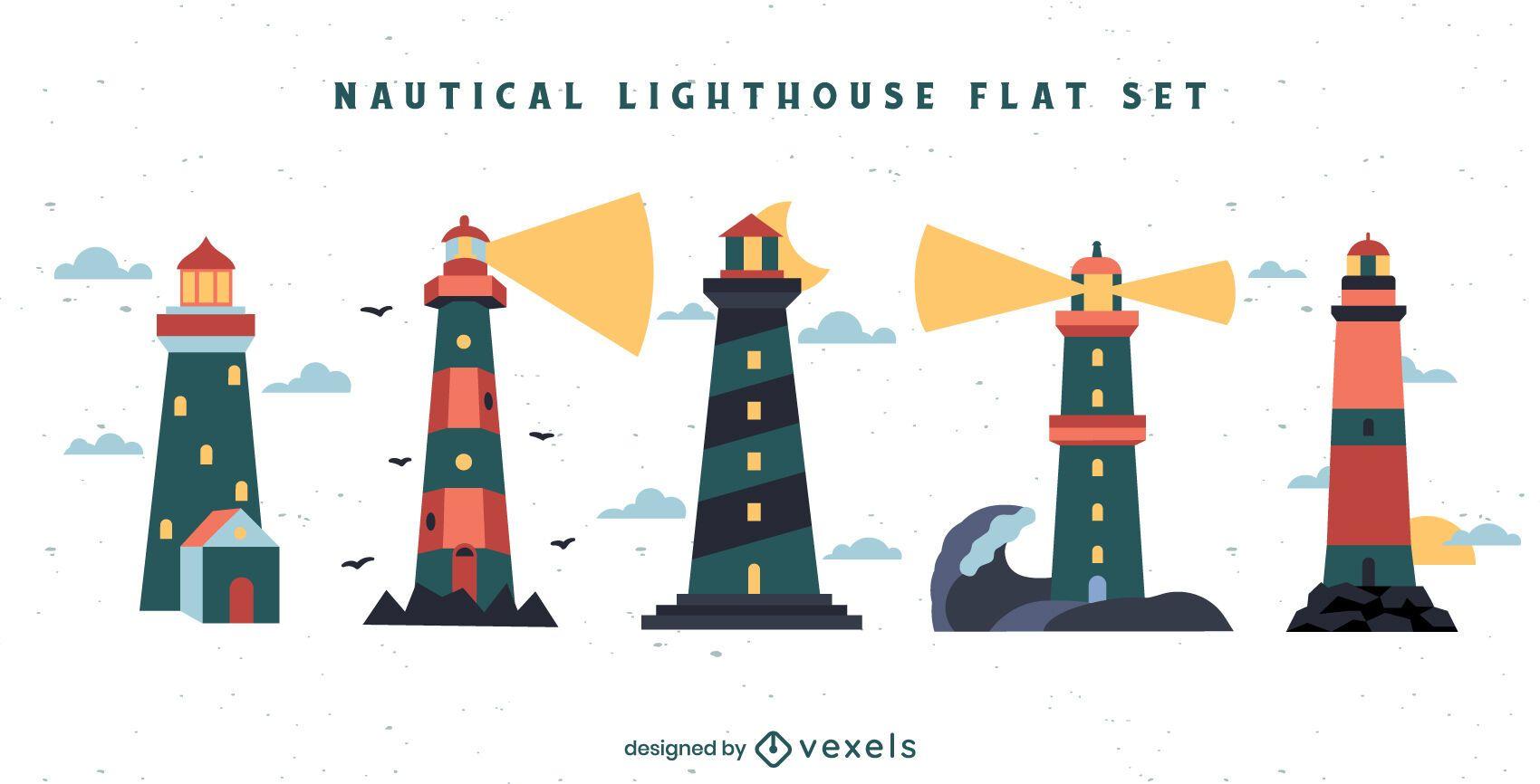 Lighthouse ocean guide element set