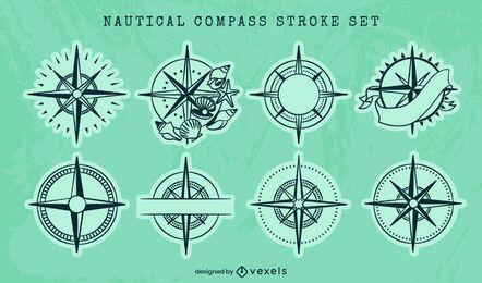 Conjunto de arte de línea de guía oceánica de brújula náutica