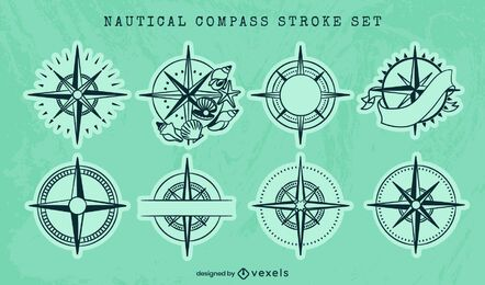 Nautical compass ocean guide line art set