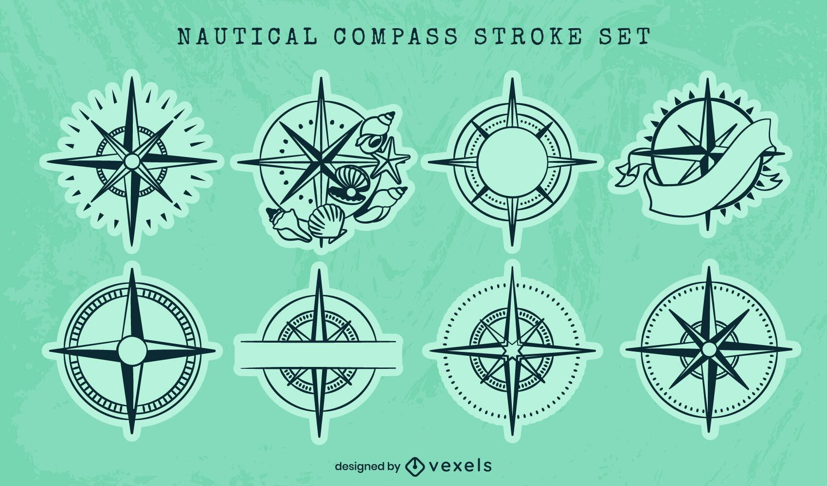Nautical compass ocean guide line art set