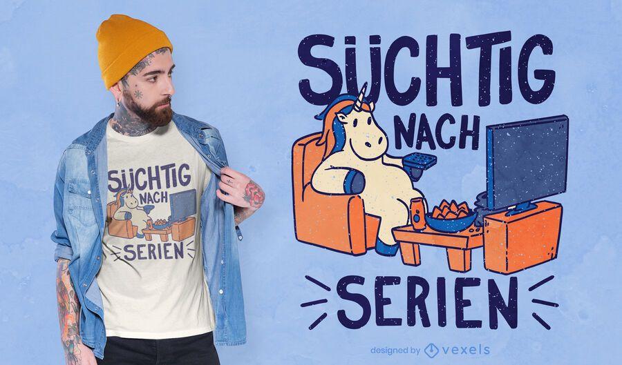 Diseño de camiseta de unicornio viendo televisión.