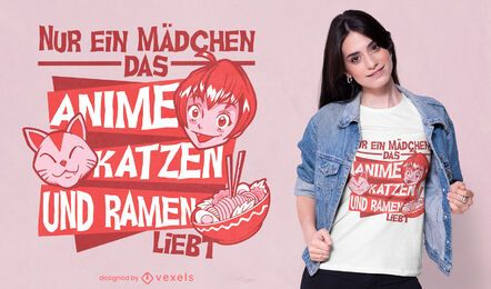 REQUEST Girl loves cats and ramen quote t-shirt design