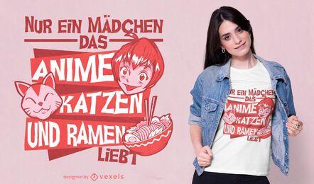 SOLICITAR Diseño de camiseta con cita de ramen y gatos